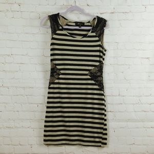 Monteau Striped Dress with Lace Inserts
